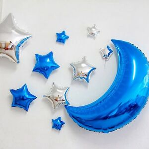 Image Is Loading Baby Boy Girl Half Moon Stars Foil Balloons