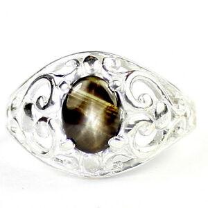 Black-Star-Sapphire-Solid-925-Sterling-Silver-Ladies-Ring-SR111-Handmade