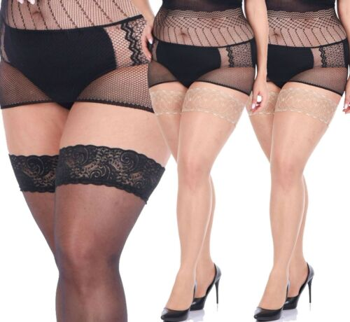 4XL New Stockings PLUS SIZE Hold ups 20 den Sheer Lace Top XL