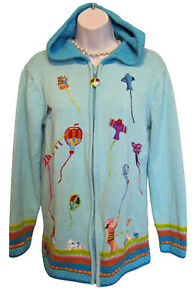 STORYBOOK-KNITS-Cardigan-Sweater-Size-S-Small-HOODIE-Zip-KITES-Beach-Hood