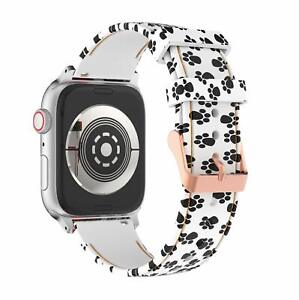 Women Band for Apple Watch Band 38mm 40mm Silicone iWatch 4/3/2/1,S/M Paw Print