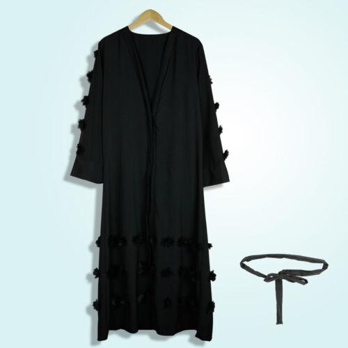 musulmano Maxi cardigan donna abito da aperto con Abaya anteriore Dubai lungo islamico stile vx48wnqvr