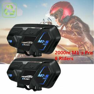 2x-M1-S-Pro-2000M-Motorrad-Intercom-Helm-Headset-Bluetooth-Sprechanlage-Drahtlos