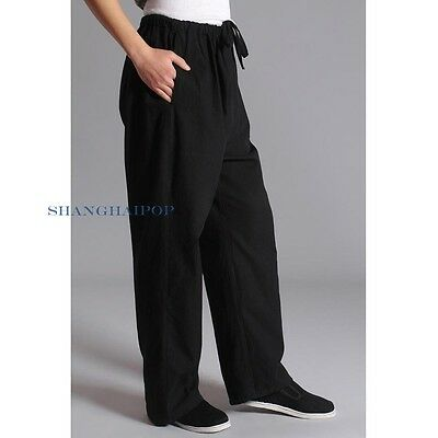 Men Tai Chi Trousers Gym Kung Fu Pants Martial Arts Sports Gray/Blue Fit Retro