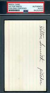 Hilton Smith PSA DNA Coa Autograph Hand Signed 3x5 Index Card