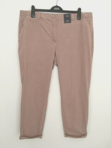 LADIES M/&S SIZE 20 REGULAR PINK PURE COTTON CHINO TROUSERS FREE POST