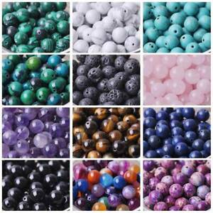 Natural-Gemstone-Stone-Round-Loose-Beads-lot-4mm-6mm-8mm-10mm-DIY-Jewelry-Making