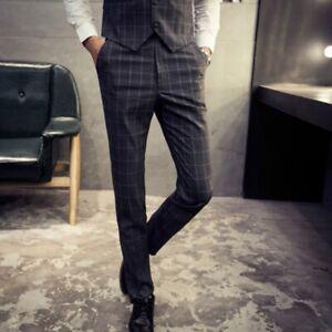Men-039-s-Tailored-Suit-Check-Plaid-Trousers-Slim-Fit-Business-Formal-Dress-Pants