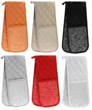 Tuscany Double Oven Gloves Heat Resistant 100% Cotton Oven Mitts