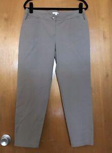 Eileen-Fisher-Womens-Pants-M-Organic-Cotton-Spandex-Cropped-Beige-Khaki-Chino