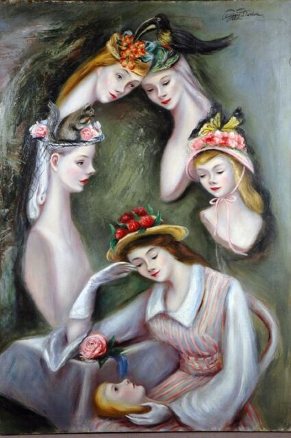 PEGGY DODDS ARTIST THIS IS ANOTHER WIERD PAINTING TOUCAN & THE MANNEQUIN GIRLS