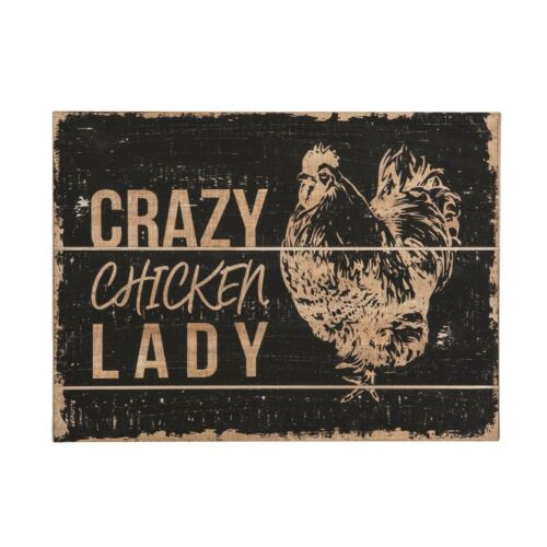"""New Primitive Farmhouse CRAZY CHICKEN LADY Rooster Rustic Wood Sign Picture 18/"""""""