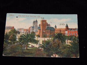 Vintage-Postcard-SAN-JOSE-CALIFORNIA-CA-City-Hall-Park-Parcel-Post-Stamp-To-OH