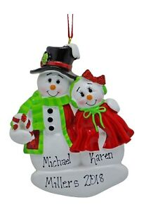 NEW Snowman Ornament Christopher Angel Christmas Personalized Name Gift Ganz Collectibles