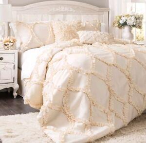 Image Is Loading Lush Decor Avon Ivory Comforter Set Queen Cream