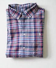 Ralph Lauren Boys Blake Madras Plaid Short Sleeve Shirt Blue Sz M (10-12) - NWT