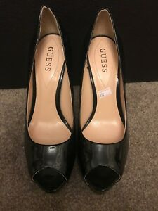 Guess Black High Heels Peep toe Shoes