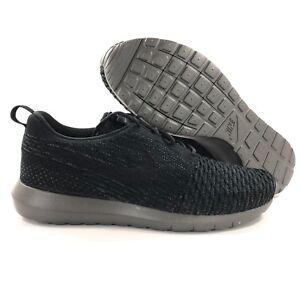 buy online eb581 c678e Image is loading Nike-Roshe-NM-Flyknit-Black-Midnight-Fog-Grey-