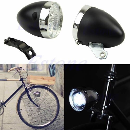 3 LED Bicycle Bike Chrome Visor Bullet Headlamp Headlight Front Tail Light New
