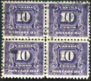 Canada-J10-used-VF-1930-Second-Issue-Postage-Due-10c-dark-violet-Block-of-4