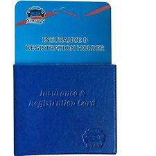 "Blue AUTO CAR INSURANCE REGISTRATION HOLDER WALLET 5.25x4.6""Embossed FauxLeather"