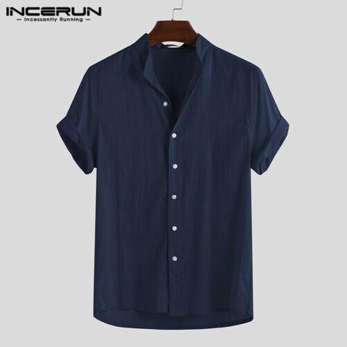 Men/'s T Shirt Cotton Linen Tee Button Down Casual Shirts Short Sleeve Yoga Tops