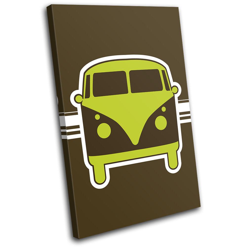 Camper Van Abstract verde Transportation SINGLE TELA parete arte foto foto foto stampa 28a549