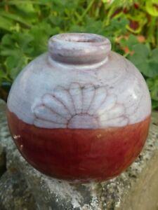 Cloutier vase rond en céramique décor de fleurs tournesol stylisés signé dessous