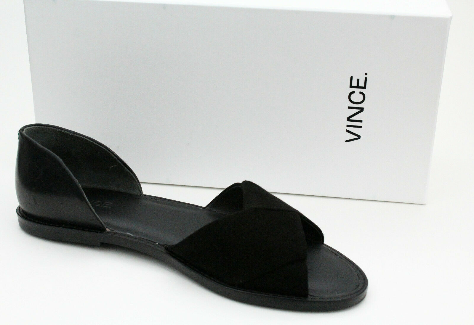 NEW VINCE Idara Twisted d'Orsay Sandal -Black Leather Flats- Women's US 7  225