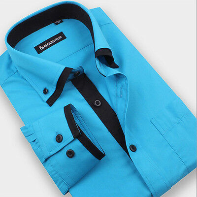 New Mens Luxury Casual Slim Fit Stylish Dress Shirts Long Sleeve Classic Fashion