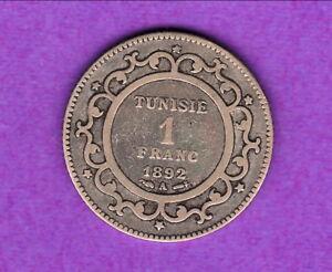 TUNISIE-1-FRANC-ARGENT-1892-A