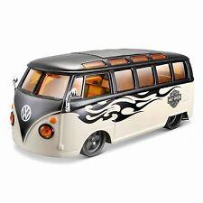 "VW t1 Samba Bus /""HARLEY DAVIDSON/"" nero//beige modello di auto 1:25//Maisto"