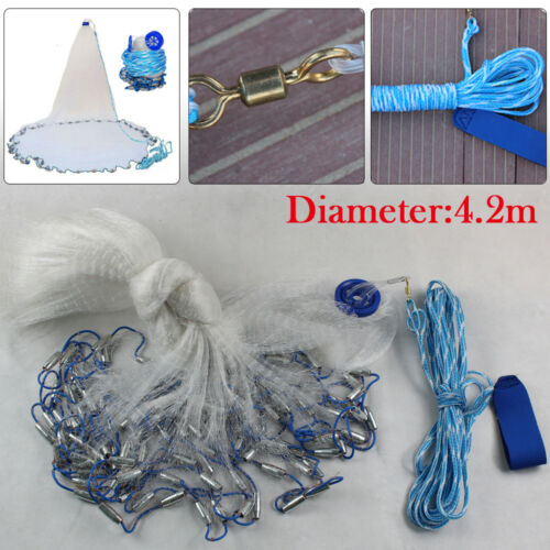 3//4.2//5.4//6.6 Meter Hand Cast Fishing Net Spin Network Bait Fish Net with Sinker