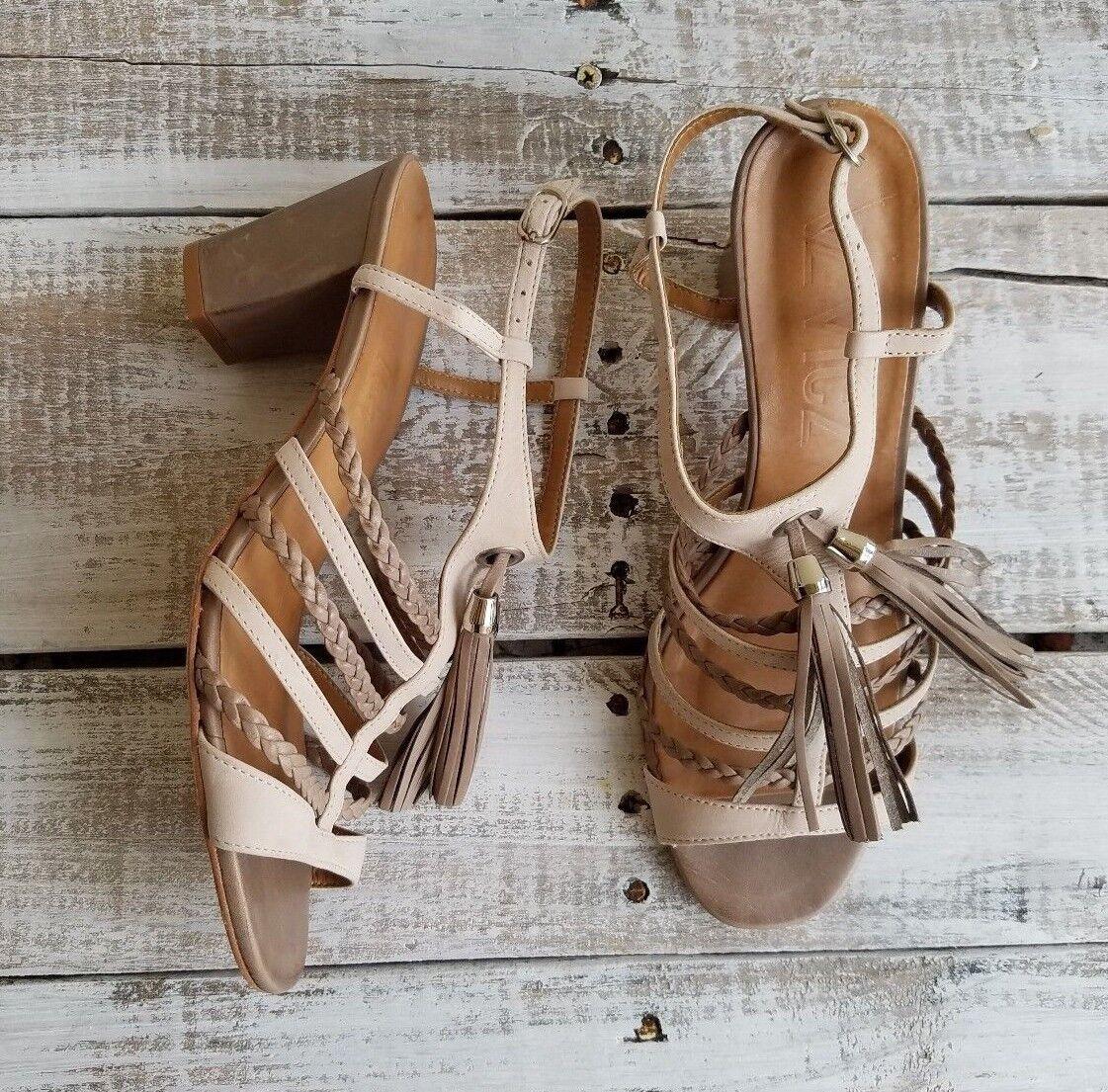 VZ VICZ Vero Cuoio  women sandals size 39 beige heels casual brown clasp club