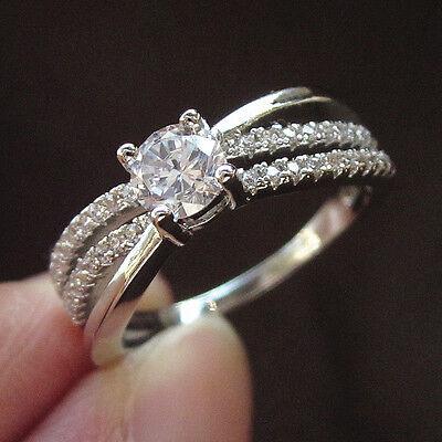 New Fashion 18K White Gold GP AAA CZ & Topaz Women Wedding Ring Size 7 8 9