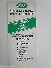 Yugoslav Airlines JAT Jugoslovenski Aerotransport 1980 Airline Timetable & fares