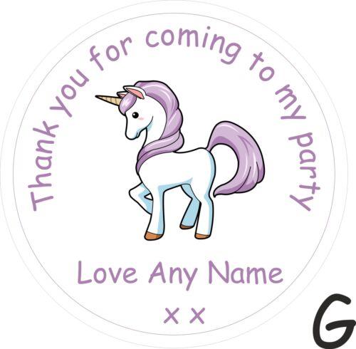 60 Personalizado Unicornio Fiesta De Cumpleaños Bolsa gracias Pegatinas Etiquetas Para Niñas