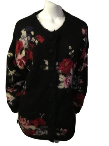 Gorgeous Vintage 80's Long Floral Cardigan Sweater