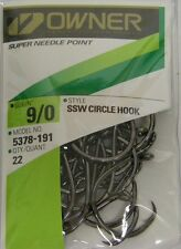 OWNER SSW CIRCLE HOOK SALTWATER BIG GAME SUPER NEEDLE POINT 5378-191 9/0 QTY 22