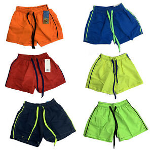 Boys-Swim-Shorts-Plain-Mesh-Lining-Swimming-Summer-Beach-Trunks