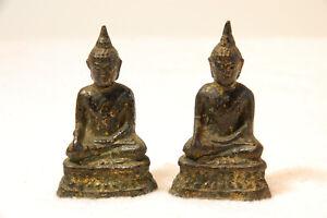 Schoene-Darstellung-eines-PAAR-sitzender-ANTIKER-Buddhas-aus-Siam