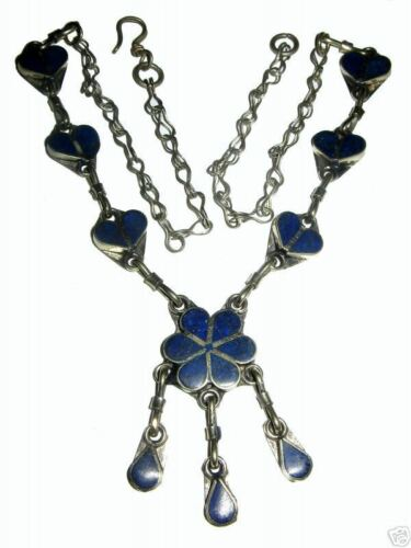 Orient nomaden Afghan tribal bellydance bauchtanz Lapis Kette Necklace Blume