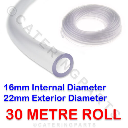 30 METRE ROLL OF TUBING 16mm BORE x 22mm OD PVC HOSE CLEAR FLEXIBLE WATER TUBE