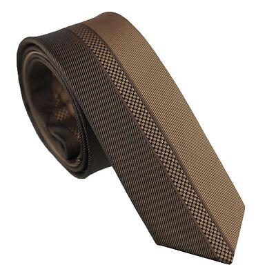 Coachella Ties Contrast Design Brown Coffee Stripe Necktie Microfiber Skinny Tie