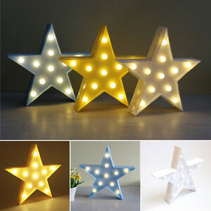 3w-Blanco-Calido-LED-LAMPARA-MESILLA-FORMA-DE-ESTRELLA-Bateria-Lampara-de-pared