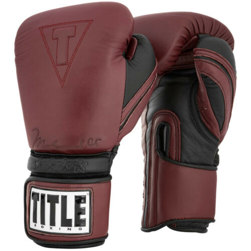 Maroon Title Boxing Ali Authentic Hook and Loop Leather Bag Boxing Gloves