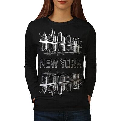 Generoso Wellcoda Ny Città Paesaggio Fashion Da Donna Manica Lunga T-shirt, Design Big Casual-mostra Il Titolo Originale