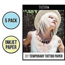 Tattify DIY Temporary Tattoo Paper 5 Pack For Inkjet Printers, Printable Long La