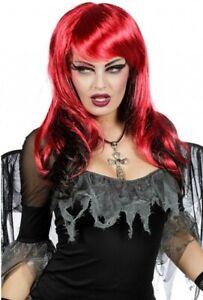 PERRUQUE-femme-Noir-Rouge-Deguisement-Halloween-Sorciere-Demon-NEUF