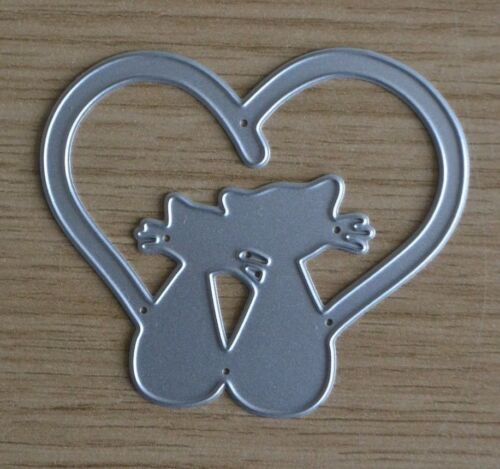 Z60 Metal Cutting Die Pair of CATS IN LOVE HEART Kitty Kitten Pets